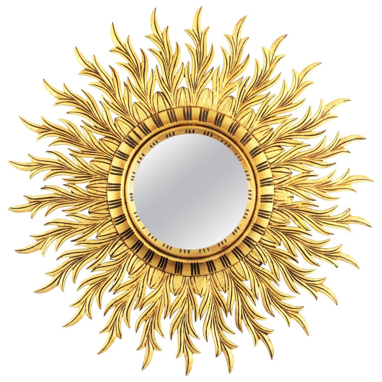Large Hollywood Regency Carved Giltwood Round Sunburst Mirror, Spain, 1960s For Sale