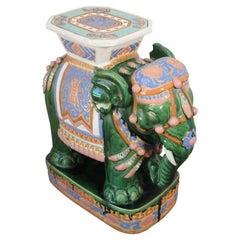 Large Hollywood Regency Ceramic Elephant Garden Stool