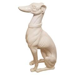 Large Hollywood Regency Ceramic Greyhound Statue