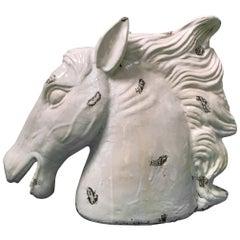 Große Hollywood Regency Keramik Pferdekopf Statue