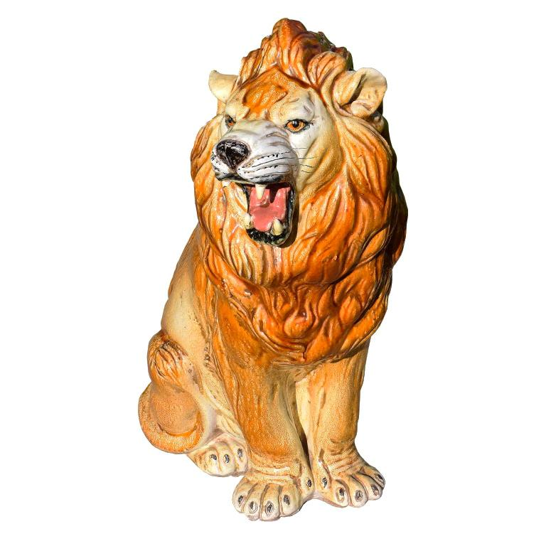 Large Hollywood Regency Ceramic Lion Animal Sculpture, Midcentury, Italy
