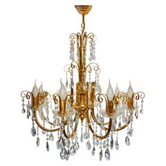 Large Hollywood Regency Crystal Cascade Waterfall Gilt Brass 8-Light Chandelier