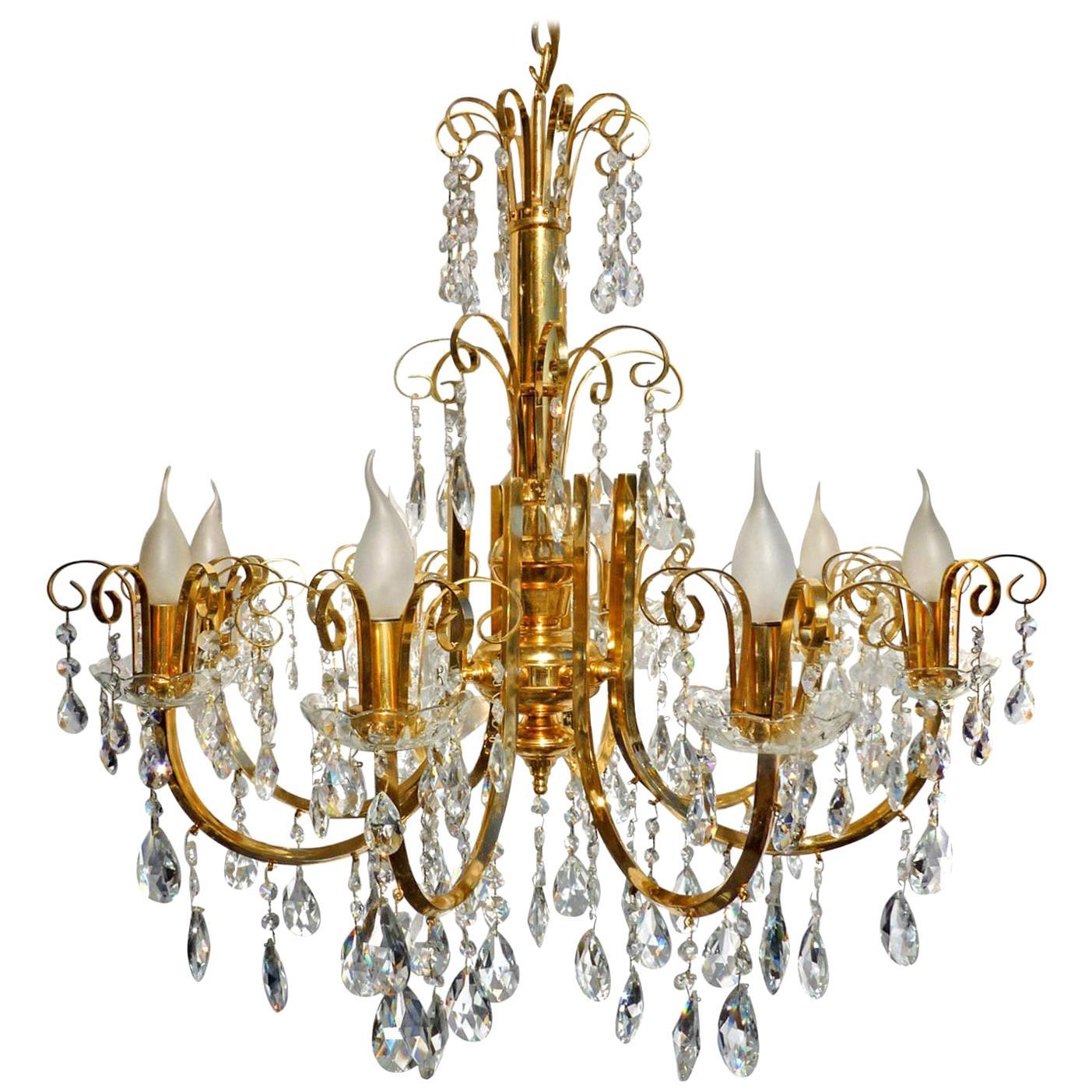 Large Hollywood Regency Crystal Cascade Waterfall Gilt Brass 8-Light Chandelier