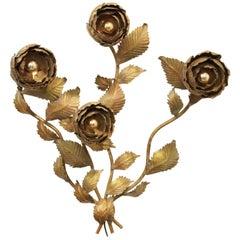 Large Hollywood Regency Flower Wall Lamp Metal Gold Leaf by Hans Kögl, 1970s