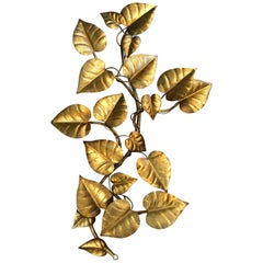 Large Hollywood Regency Gilt Floral Wall Hanging