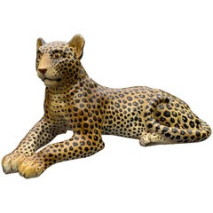 Large Hollywood Regency Hand Painted Terracotta Leopard, Made in Italy
