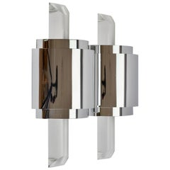Large Hollywood Regency Lucite and Chrome Wall Lights or Sconces, circa 1970s