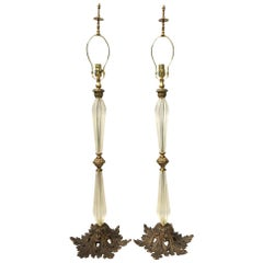 Large Hollywood Regency Murano Italian Glass Brass Ormolu Table Lamps