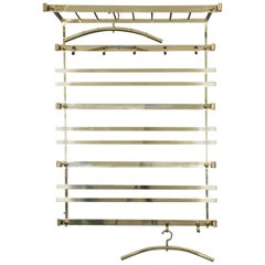 Large Hollywood Regency Solid Brass Wall-Mounted Coat Rack Italy, 1970s