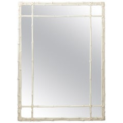 Large Hollywood Regency Style Painted Faux Bamboo Mirror