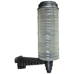 Large Holophane Cast Iron and Glass Hotel Wall Light Sconce, circa 1925