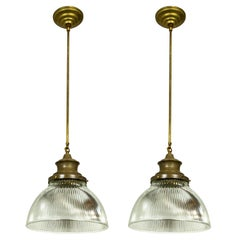 Large Holophane Glass and Brass Pendants 'Pair'