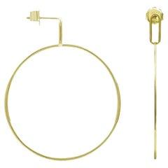 Large Hoola Hoop 9 Karat Yellow Gold Earrings