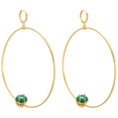 Large Hoop Earrings in Gold plated Silver and Malachite Round Stone