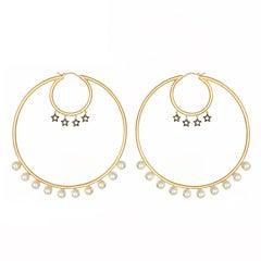 Large Hoop Earrings Vermeil Gold with Freshwater Pearls