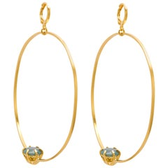 Large Hoop Gold Plated Silver Earrings with Reversed Stone