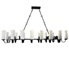 Large Horizontal Iron Chandelier with Milk Glass Shades
