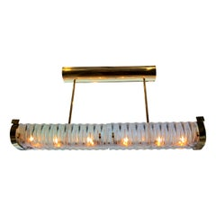 Large Horizontal Molded Glass Light Fixture