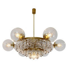 Large Hotel Chandeliers with Brass Fixture and Structured Glass Globes