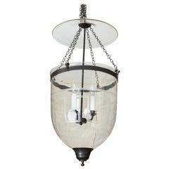 Large Hundi/Bell Jar Fixture with Etched Greek Key Design