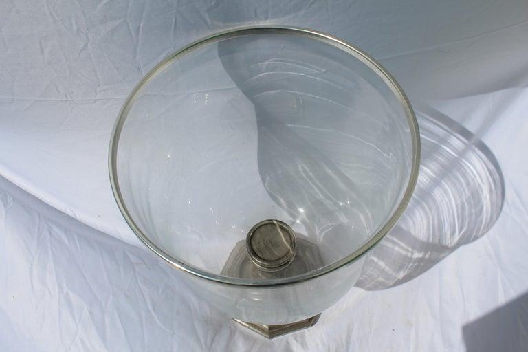 North American Large Hurricane, Bronze Base, Antique Silvered finish, Metal Rim Big Size For Sale