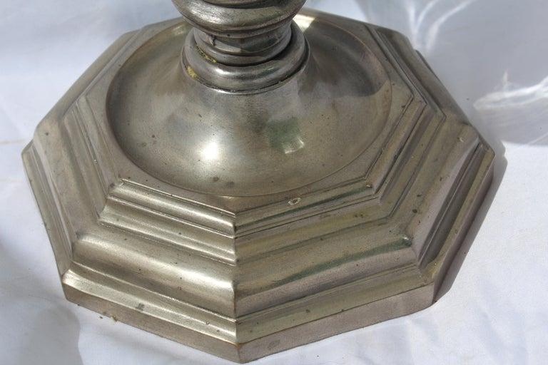 Cast Large Hurricane, Bronze Base, Antique Silvered finish, Metal Rim Big Size For Sale