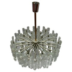 Large Ice Glass Chandelier Kalmar, Austria, 1960