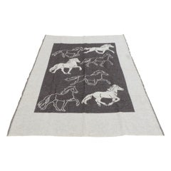 Large Ice Wool Grey and Tan Blanket Depicting Horses