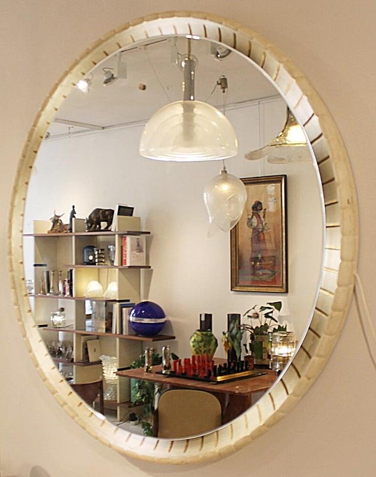 Large illuminated Italian wooden mirror, circa 1940s.