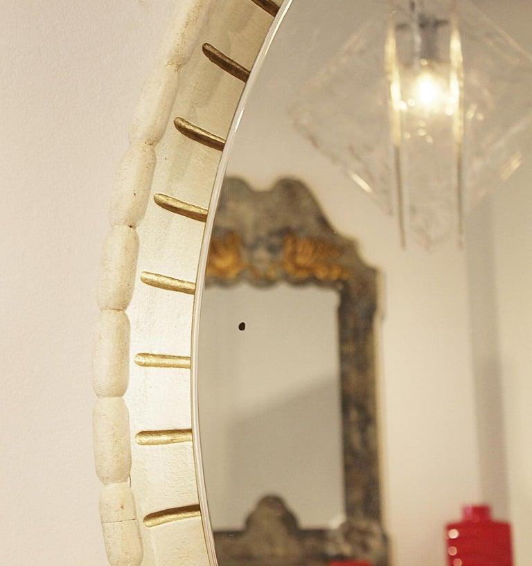 Mid-20th Century Large Illuminated Italian Wooden Mirror, circa 1940s For Sale