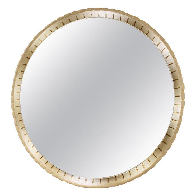 Large Illuminated Italian Wooden Mirror, circa 1940s For Sale