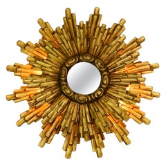 Large Illuminated Midcentury Sunburst Wall Mirror Made of Gold-Plated Wood