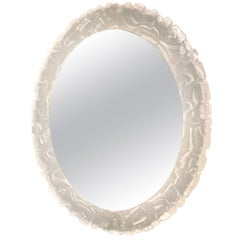 Large Illuminated Oval Wall Mirror in Lucite by Erco