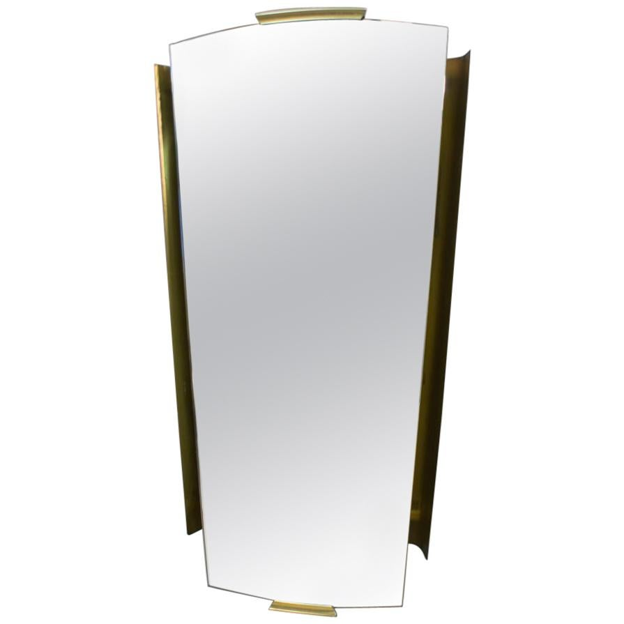 Brass Illuminated Wall Mirror by Ernest Igl for Hillebrand, Germany 1950s