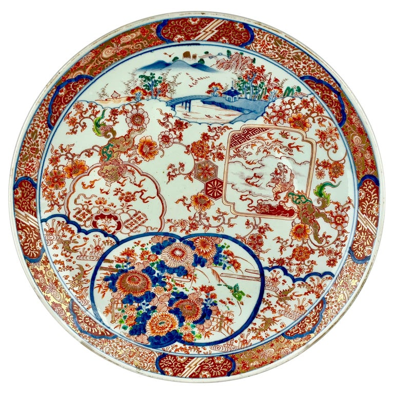 Large Japanese Imari Porcelain Charger-Meiji Period For Sale