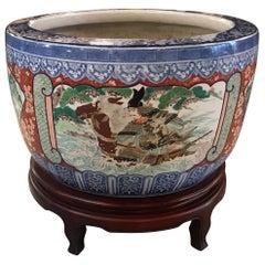 Large Imari Porcelain Planter on Stand, Late 19th Century