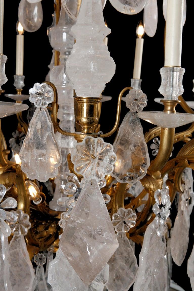 Belle Époque Large & Important George Hoentschel French Rock Crystal & Gilt Bronze Chandelier For Sale
