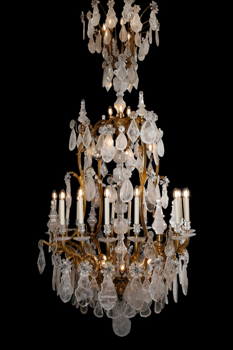 20th Century Large & Important George Hoentschel French Rock Crystal & Gilt Bronze Chandelier For Sale