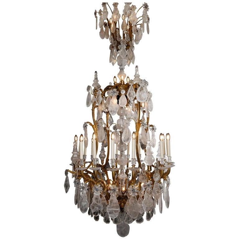 Large & Important George Hoentschel French Rock Crystal & Gilt Bronze Chandelier For Sale