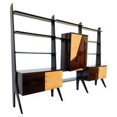 Large Important Ico Parisi Style Laminated Veneered Bar Wall Unit, circa 1955
