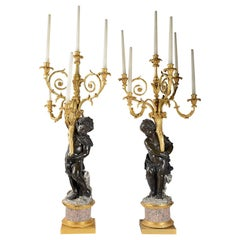Large, Important Pair of 19th Century Bronze and Ormolu Candelabra