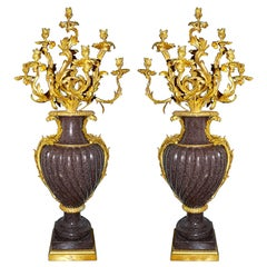 Large Important Pair of 19th Century Porphyry and Ormolu Candelabra