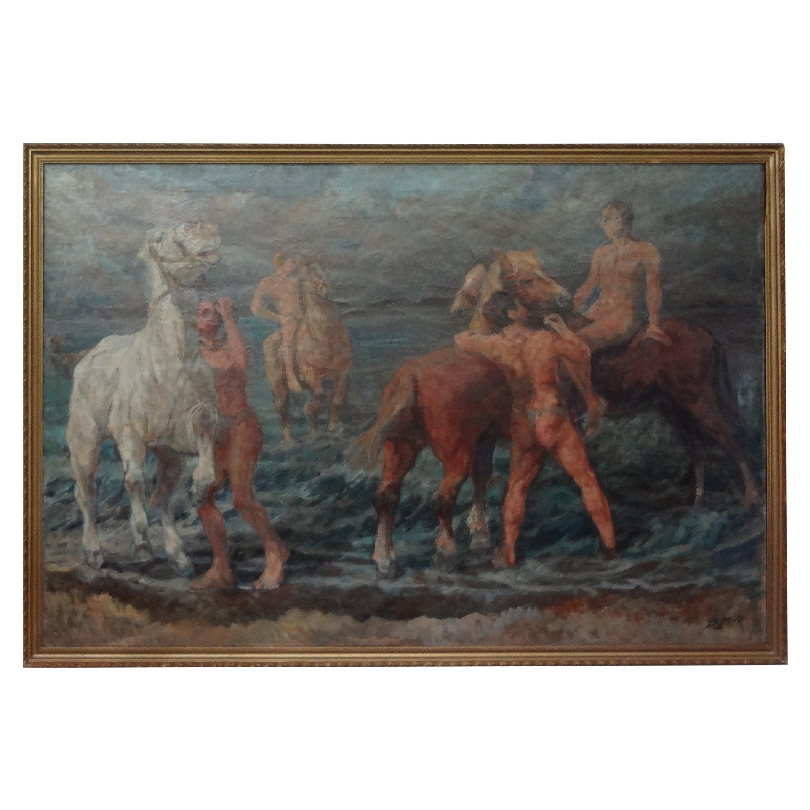 Large Impressionist Oil on Canvas Signed R. Blum