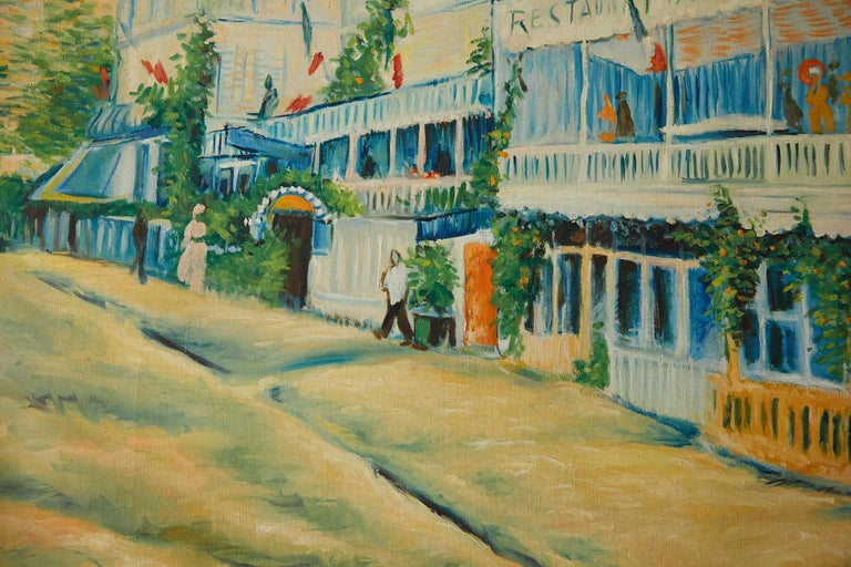 Large Impressionist Painting of a French Street Scene For Sale 5