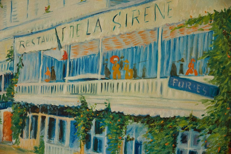 Large Impressionist Painting of a French Street Scene For Sale 6