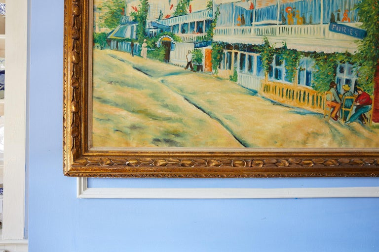 Impressive 20th century large original oil on canvas of a vivid and colorful French street scene painted in the manner of Impressionism. The painting is inspired by Vincent Van Gogh's