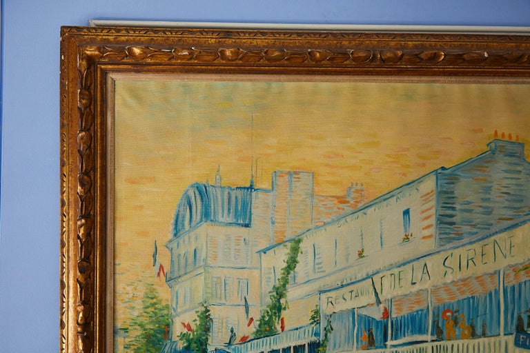 Hollywood Regency Large Impressionist Painting of a French Street Scene For Sale