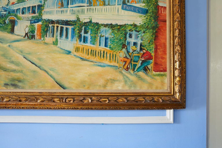 Large Impressionist Painting of a French Street Scene In Good Condition For Sale In Atlanta, GA
