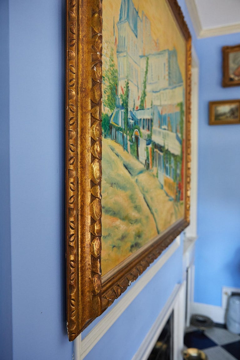 20th Century Large Impressionist Painting of a French Street Scene For Sale