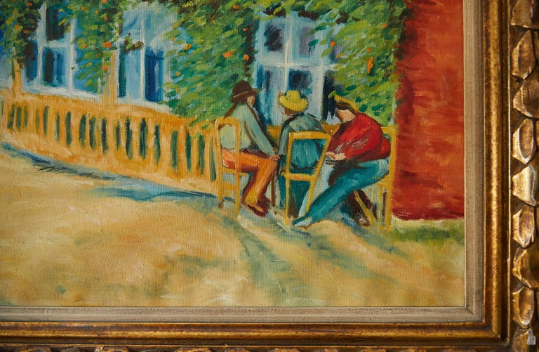 Large Impressionist Painting of a French Street Scene For Sale 2